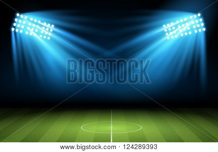 Football arena. Soccer field with searchlight, spotlight, projector. Vector  illustration