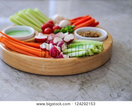 Vegetable Crudites and Dips/ vegetable platter, healthy eating, selective focus