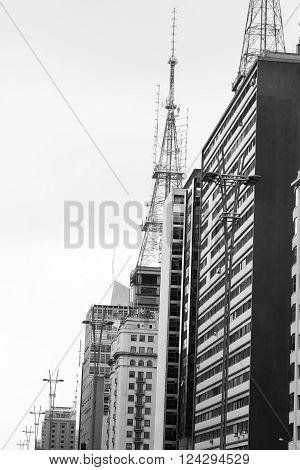 Black and white photo of buildings on Avenida Paulista Sao Paulo