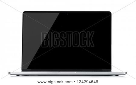 Laptop with black screen isolated on white