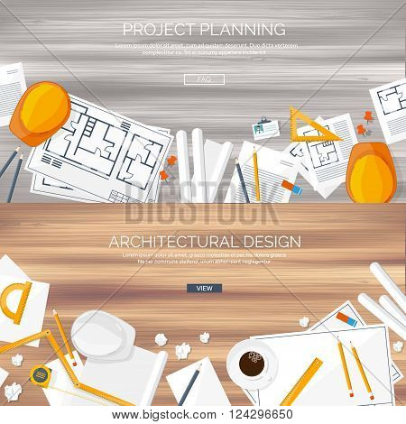 Vector illustration. Engineering and architecture. Drawing, construction.  Architectural project. Design, sketching. Workspace with tools. Planning and building. Wooden background.