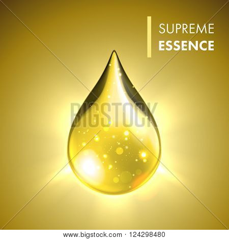 Supreme collagen oil drop essence. Premium gold shining serum droplet. Vector illustration