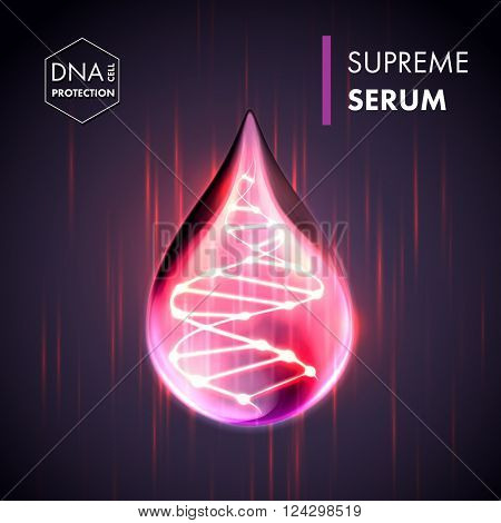Supreme collagen oil drop essence with DNA helix. Premium shining serum droplet. Vector illustration poster