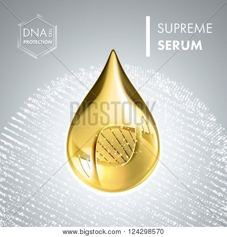 Supreme collagen oil drop essence with DNA helix. Premium shining serum droplet. Vector illustration