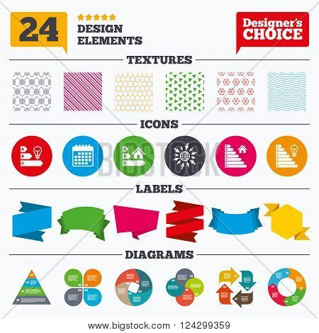 Banner tags, stickers and chart graph. Energy efficiency icons. Lamp bulb and house building sign symbols. Linear patterns and textures.
