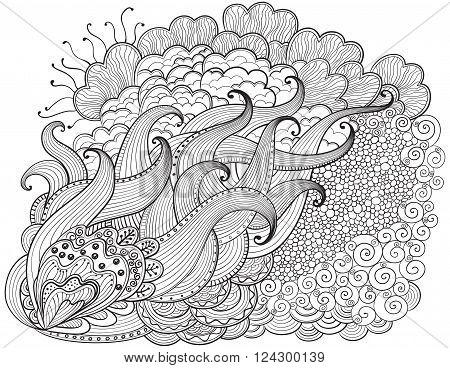 Hand drawn abstract  zendoodle background. Vector outline abstract wavy drawing. Coloring book for adult and children. Coloring page