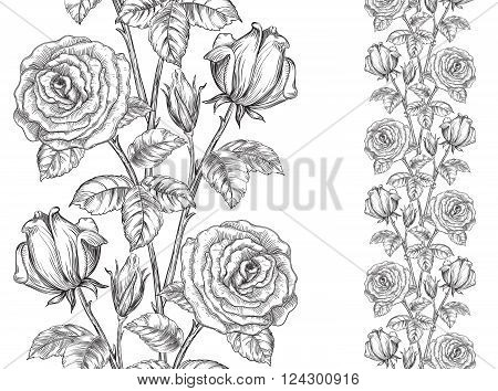 Vintage floral backgrounds. Vector ornate seamless  pattern with roses and leaves at engraving style
