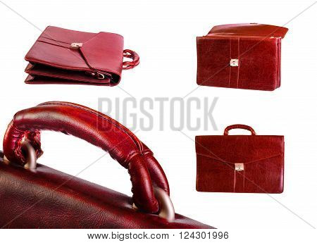 Set Of Brown Leather Case For Documents With Metal Lock