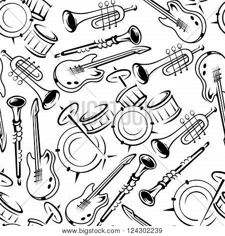 Black and white musical instruments seamless pattern with drum sets and guitars, trumpets and clarinets on white background. Art and music theme