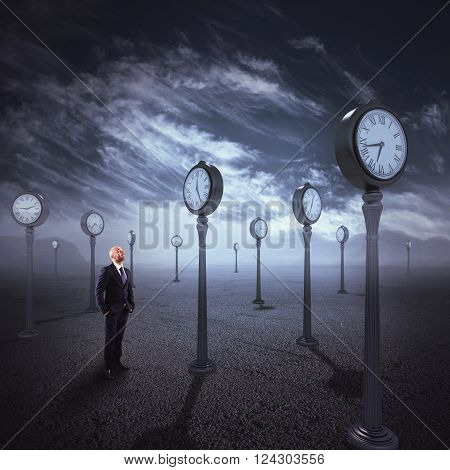 Man in isolated place with antique watches