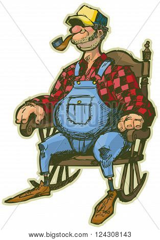 A vector cartoon clip art illustration of an Elderly Man in a Rocking Chair. Looks like a Farmer or someone who lives in the country. He has sideburns a pipe and a fat belly. Rendered in a sketchy illustration style in layers for easy editing.