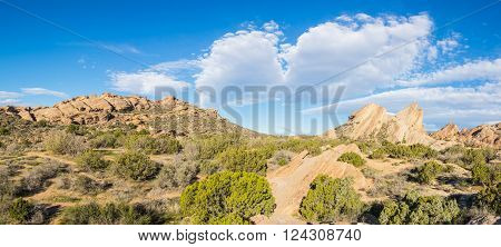 Rock formations in a panorama of the Mojave desert near Agua Dulce California.