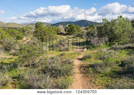 Hiking trail in the desert wilderness of southern California's Vasquez Rock State Park