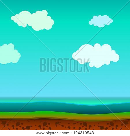Vector landscape with the land and water in the context of a clear summer day with clouds in the sky.