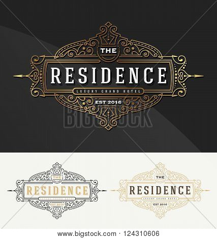 Vintage flourish frame logo template for Residence Restaurant Hotel Real Estate and Boutique Identity. Vector illustration