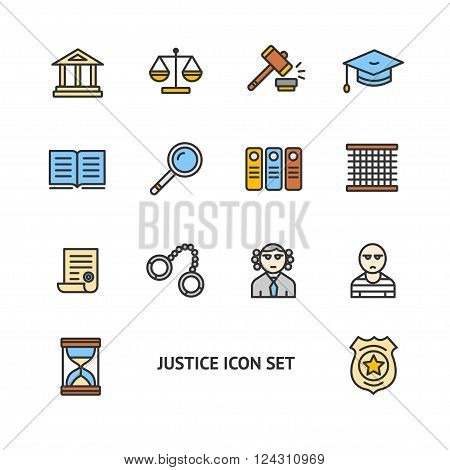 Justice Color Icon Set on a White Background. Vector illustration