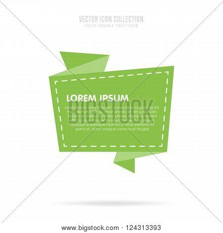 Origami banner flat vector illustration. Isolated origami badge. Origami speech bubble. Origami ribbon. Origami vector banner isolated. Origami banner concept. Origami banner template. Origami style. Origami speech banner. Origami tag. Origami icon.