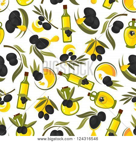 Seamless healthful olive oil pattern of olive tree leafy twigs with black fruits and oil drops, glass bottles with natural extra virgin olive oil on white background. Healthy food theme design usage