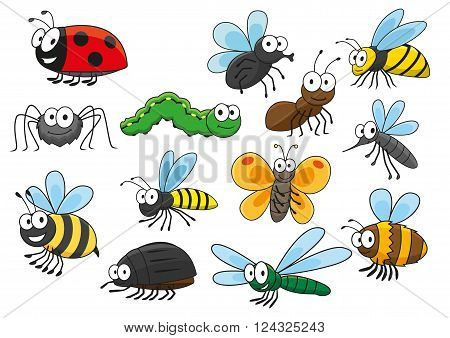Friendly smiling cartoon bee and bug, butterfly and caterpillar, fly and ladybug, spider and mosquito, wasp and ant, bumblebee, dragonfly and hornet characters. Colorful funny insects for t-shirt print, mascot, childish book or nature themes design