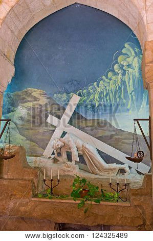 JERUSALEM, ISRAEL - FEBRUARY 16, 2016: The Polish Catholic Chapel  in Via Dolorosa,  was built in place of the first fall of Jesus Christ with the Cross, on February 16 in Jerusalem.