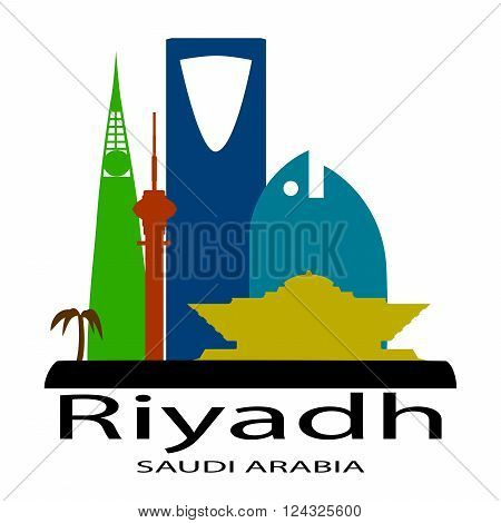 Riyadh Saudi Arabia skyline silhouette color logo