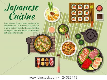 Fresh dinner of japanese cuisine with maki and nigiri sushi, sashimi set with salmon teriyaki, tuna, cuttlefish and scallops, miso soup with fried pork, green tea and soup with tofu and shrimps, beef with mushrooms and vegetables, sauces and condiments