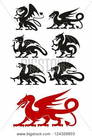 Medieval heraldic dragons black and red icons of powerful mythical beast with open wings and curved tails. Use as heraldic symbol, tattoo or mascot design