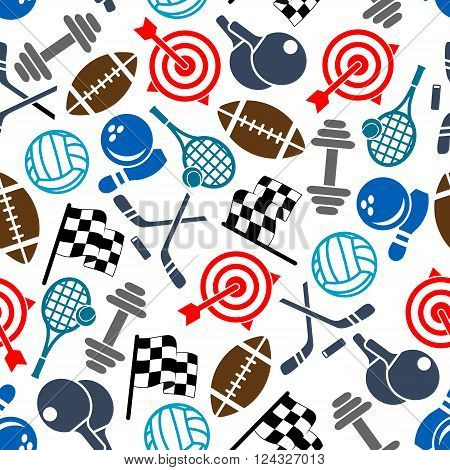 Colorful seamless sport items and equipment pattern of american football and volleyball, tennis and bowling balls, checkered racing flags, ice hockey sticks and pucks, rackets and dumbbells, archery targets and ninepins on white background