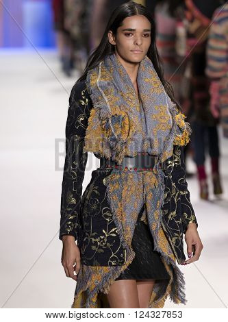 New York City, USA - February 11, 2016: Simone Carvalho walks the runway during the Desigual Women's show as a part of Fall 2016 New York Fashion Week