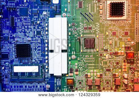 Cutcuit Electronic On Motherboard