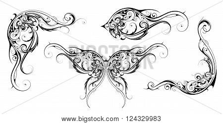 Set of ornamental design elements with calligraphic and floral swirls. Good for menu, invitation and wedding cards