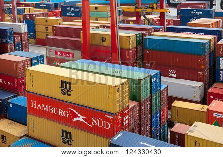 Buenos Aires Argentina - December 17 2012: Shipping containers at the Port of Buenos Aires Argentina. The Port of Buenos Aires is the principal maritime port in Argentina. It is the leading transshipment point for the foreign trade of Argentina.