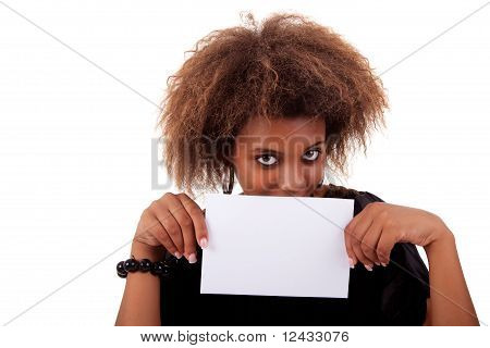 Beautiful Black Woman Person With Blank Business Card In Hand, Isolated On White Background. Studio