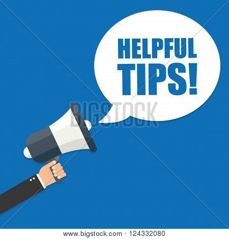 Hand holding megaphone - Helpful tips vector illustration isolated