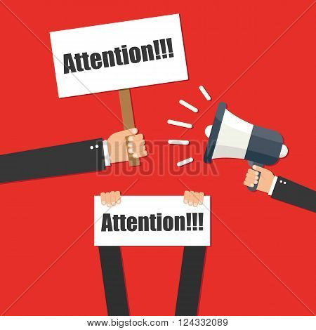 Hand holding megaphone - Attention vector illustration isolated