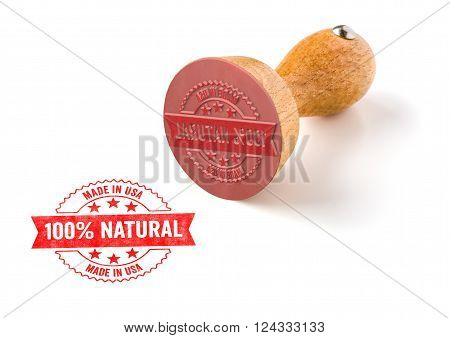 A Rubber Stamp On A White Background - 100 Percent Natural