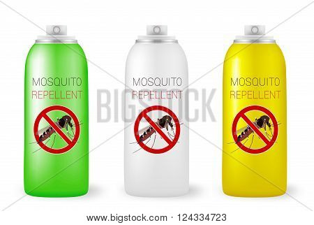 Set of mosquito repellents on white. Vector