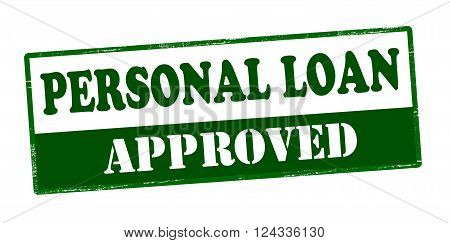 Rubber stamp with text personal loan approved inside vector illustration`