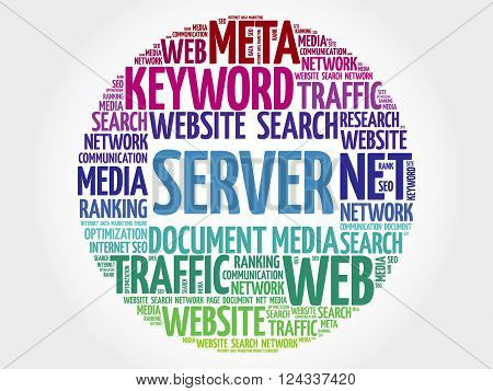 Server word cloud business concept, presentation background