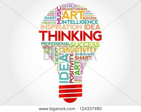 Thinking bulb word cloud concept, presentation background