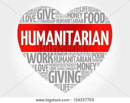 Humanitarian word cloud heart concept, presentation background