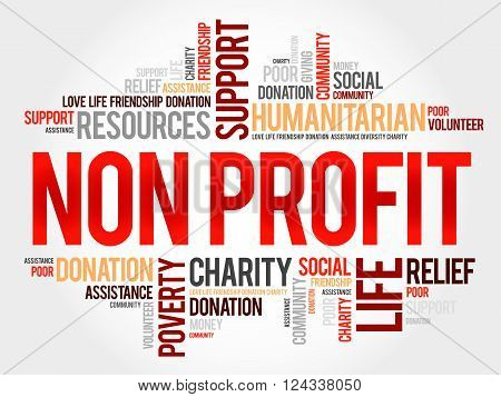 Non Profit word cloud collage concept, presentation background