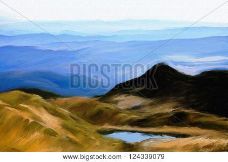 watercolor digital painting of bulgarian Rila mountain