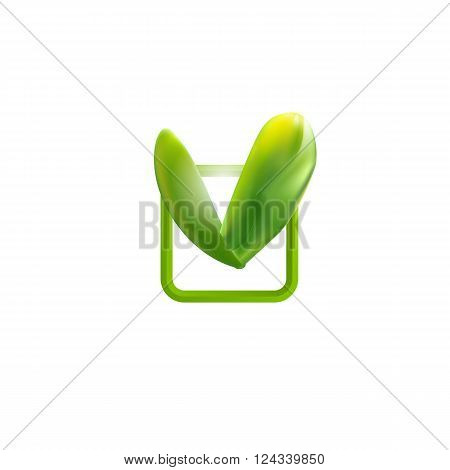 Green check mark. Leaves chek icon. Logo for organic food and technic product. Bio logo. Correct icon.  Ok sign. Modern Vector illustration. Square emblem with natural leaf