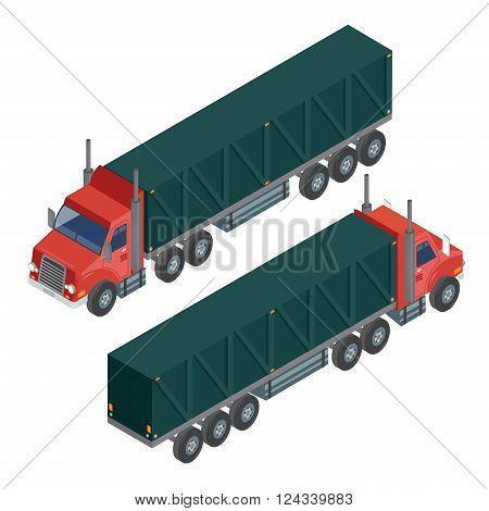 Cargo Transportation. Isometric Truck. Isometric Transportation. Cargo Trailer. Delivery Truck. Logistics Transportation. Mode of Transportation. Cargo Truck. Vector illustration poster