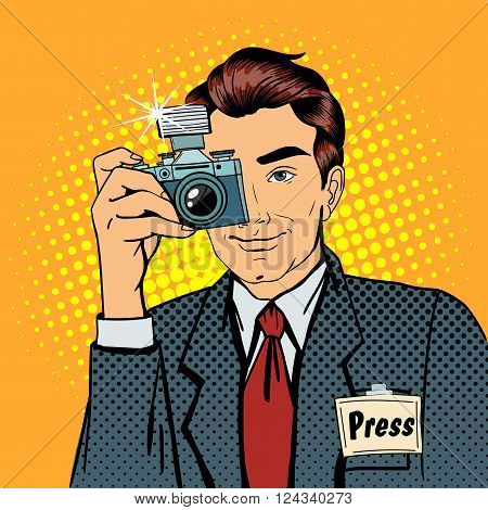 Photographer Paparazzi. Reporter with Camera. Media Representative. Man Taking a Picture. Journalist with Camera. Mass Media. Pop Art Banner. Vector illustration