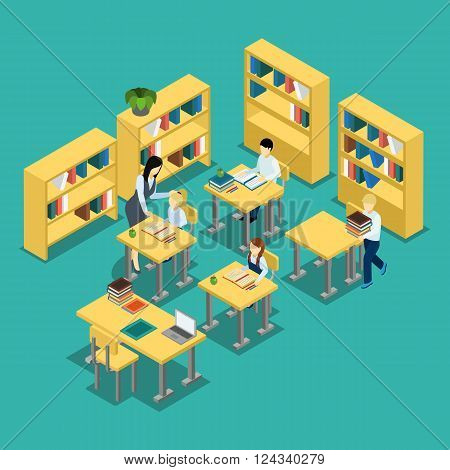 Education isometric banner middle school lesson situation with students and teacher in classroom abstract vector illustration
