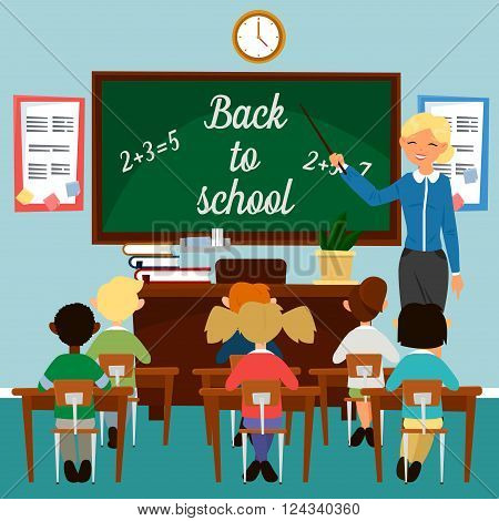 Back to School. Classroom with children. Teacher at the Blackboard. Educational Concept. Classrom Interior. Schoolers in Class. Vector illustration