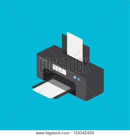 Printer detailed isometric icon vector graphic illustration