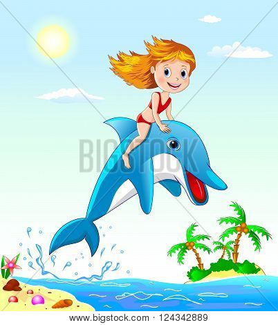 Little girl sits astride a dolphin. Girl playing with a dolphin.